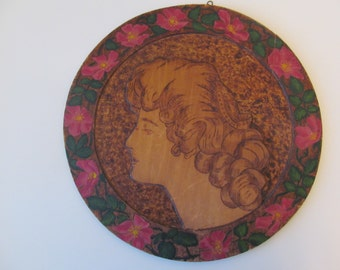 "Round Pyrography ""Wood-burned"" Image of a Gibson Girl 1909 by A. Grunow"