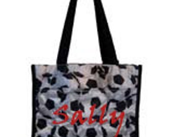 Embroidery or Monogram Soccer Theme  Tote Bag - Choose from over 300 lettering styles