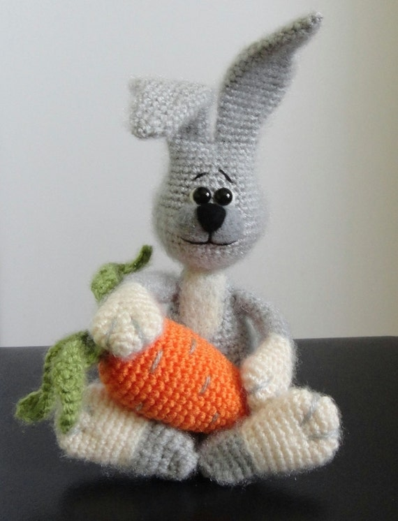 10% discount with coupon code Rabbit and Carrot OOAK Stuffed Animals Crochet Soft toy decor Amigurumi Made to order