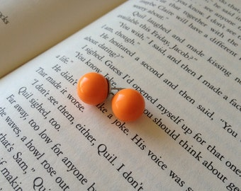 Orange Round Ball Earring Studs