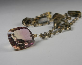 SALE. necklace. ametrine. smokey quartz.