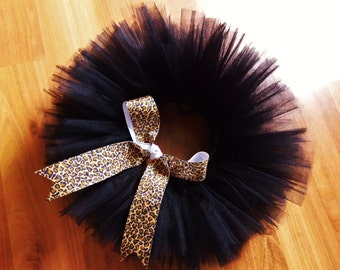 Black Infant Tutu with Cheetah Ribbon