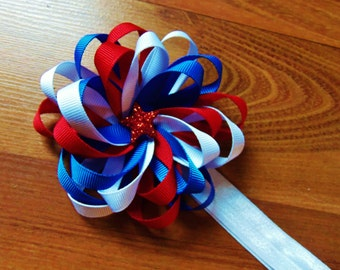 Red, White, & Blue Loopy Hairbow