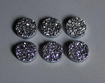 Polished Natural Quartz Silver Color Titanium Round Druzy Cabochon 6mm