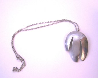 Stainless Steel Upcycled Metal Necklace wih Pendant