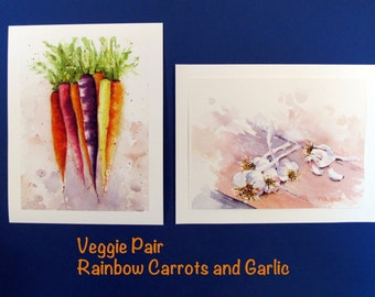 Sping green Vegetable Food Art Carrots Garlic Original Watercolor PRINTS