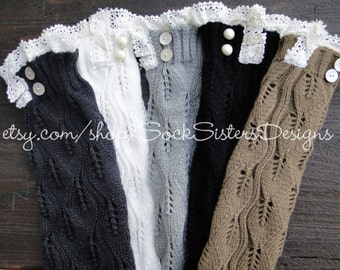 BIG SALE! Leg Warmer with Pearl Buttons and Lace, Big Kids/Womens - Wear as a Boot Sock too....