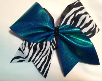 """3"""" Cheer Bow - Zebra and Turquoise"""