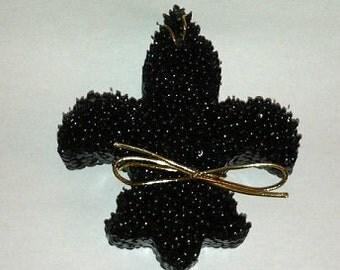 Black Leather Aroma Bead Air Freshener- Fleur de Lis
