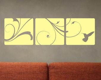 3 Boxes with beautiful design and hummingbird Decal Sticker Decal Wall children boy girl modern teen