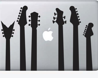 Guitar Silhouettes for LAPTOP Sticker Decal Vinyl Mac Computer Apple