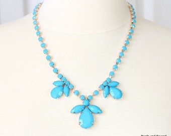 Lake Blue Flower Bib Necklace