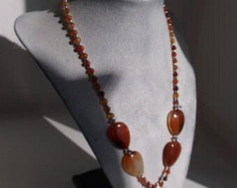 Carnelian Teardrop Necklace with Rectangular Pendant