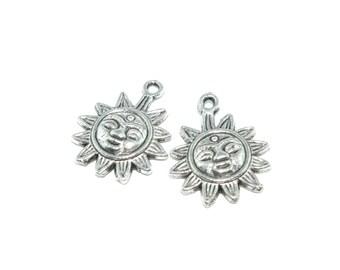 Tibetan Silver Sun Charm- Set of 2 -209-