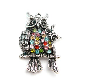 Antique Silver Plated  Bejeweled Owl - PENDANT- 1 piece