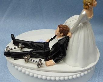 Wedding Cake Topper Weightlifting Weights Workout Bodybuilder Groom Weightlifter Gym Themed w/ Bridal Garter Bride Dragging Pulling Funny