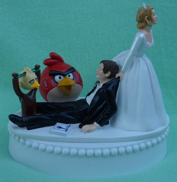 Wedding Cake Games: Wedding Cake Topper Angry Birds Video Game Player Gamer Gaming