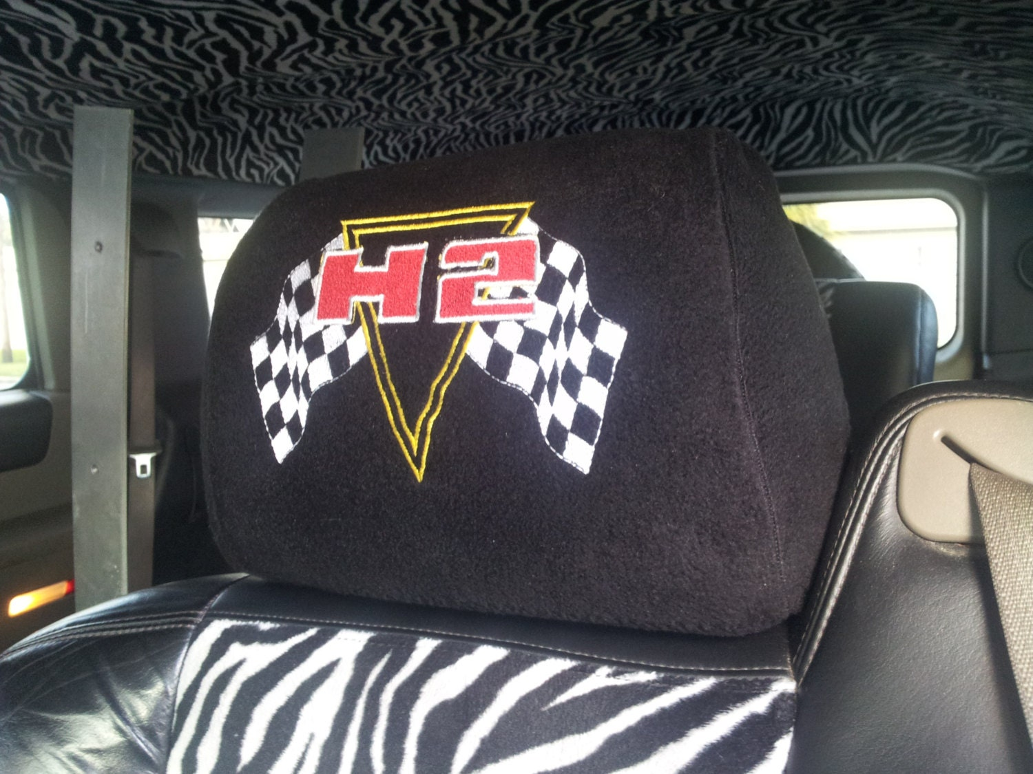 headrest covers for hummer h2 embroidered with h2 2003 to