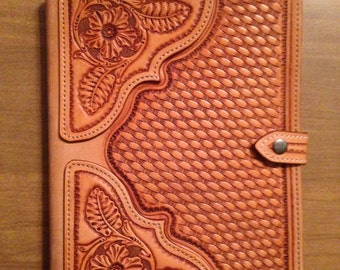 Hand tooled leather ipad case