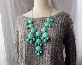 Bubble Necklace J. Crew Style Inspired Statement Necklace GOLD Tone Turquoise Aqua