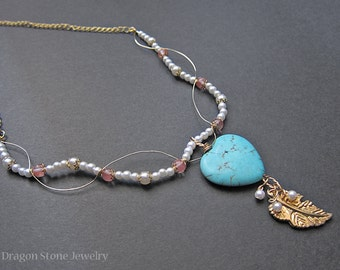 FINAL SALE!!! Angelic Wire Wrapped Turquoise Howlite Heart Pendant Necklace with Cherry Quartz and Pearl Beads