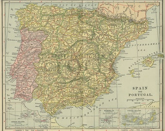"""Vintage Map """"SPAIN and PORTUGAL"""" dated 1902"""