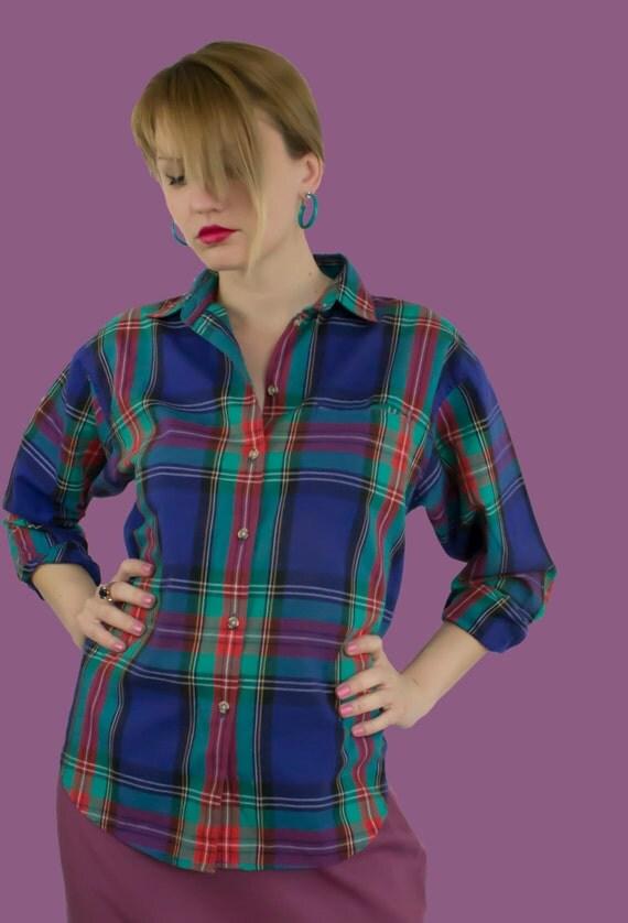 90s Vintage Womens Shirt Plaid Clothing Free by KCOVINTAGE