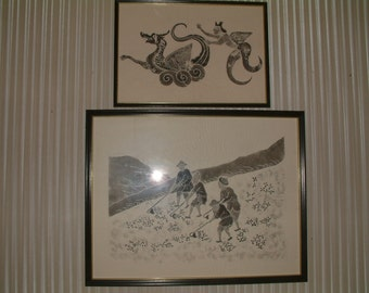 Two Vintage Stone Rubbing Rice Paper Print - Framed Chinese Folk