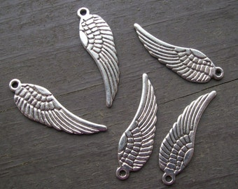 10pcs 30mm silver angel wing charms