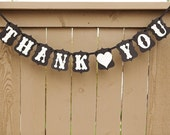 THANK YOU banner, Thank You Sign, Photo Props for Weddings | Black & Cream