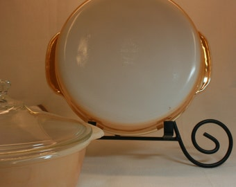 Peach lustre set-Fire King bakeware duo-covered casserole-round cake pan-mid century ovenware