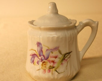 Romantic vintage sugar bowl-with lid-handled-hand painted columbine-cream and lavender