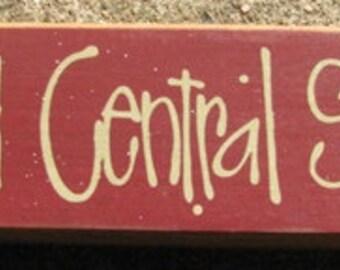 Primitive Country 82231G  Grand Central Station  Shelf Sitter Wooden  Sign