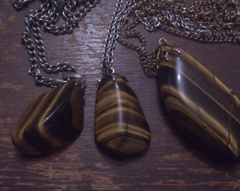 three vintage tigerseye gemstone drop pendants and chains