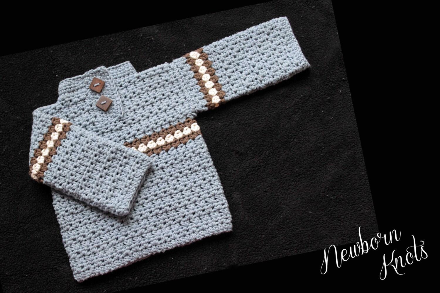 Easy Crochet Baby Boy Hat Patterns : CROCHET PATTERN For Baby Boy or Girls Striped Sweater. Pattern
