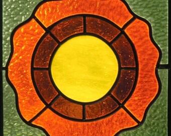 "stained glass SunCatcher ""orange flower"""