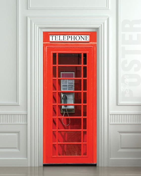 door wall sticker london telephone box self adhesive by