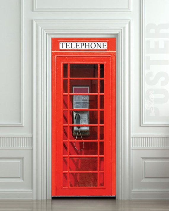 Door wall sticker london telephone box self adhesive by for Decoration porte adhesive