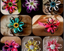 hairclip- Looped Ribbon Daisy Flower Custom made (alligator clasp) blue, red, pink, purple, green, orange, yellow, cream