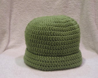 A Lovely Handmade Beanie Hat - Luttce Green...Ready to Ship