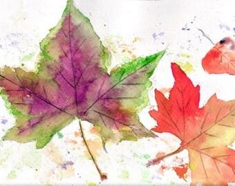 Autumn leaves watercolor illustrations. Home decor nature watercolor print
