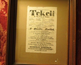 Playbill 'Tekeli' From 1820's Play in Hull England Theatre