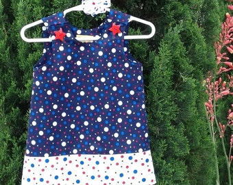Patriotic Pop Metallic Dots Dress, 4th of July, Independence Day, Red White & Blue, with matching hair accessory.