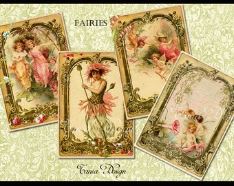 Vintage Fairies - Digital Collage Sheet - Set of 8 Atc Cards - Gift Tag- Digital Scrapbooking - Instant Download