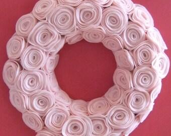 "Baby pink 12"" rosette wreath"