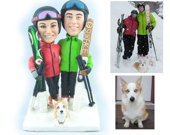 Personalised wedding cake topper - Skiing couple (Free shipping)
