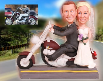 Personalised wedding cake topper - Riding motorbike with me (Free shipping)