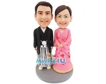 Japanese Kimono custom handmade wedding cake topper  (Free Shipping Worldwide)