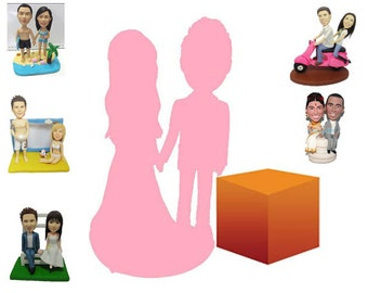 fully personalized with a background - custom wedding cake topper  (Free Shipping Worldwide)