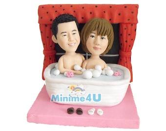 couple in the bath -  custom anniversary figurine 100% handmade  (Free Shipping Worldwide)
